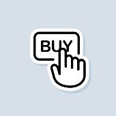 Buy with mouse click. Click buy sticker, logo, icon. Vector on isolated background. EPS 10