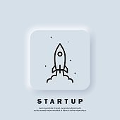 Startup rocket. Start up icon. Rocket launch and smoke. Startup project concept. Vector. UI icon. Neumorphic UI UX white user interface web button.