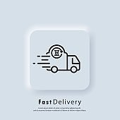 Fast delivery truck icon. Express delivery logo. Vector. UI icon. Distribution service, express transportation. Food delivery. Neumorphic UI UX white user interface web button. Neumorphism style.