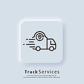 E-commerce. Track service. Truck shipping. Vector. UI icon. Fast delivery truck icon. Express delivery logo. Distribution service. Neumorphic UI UX white user interface web button. Neumorphism.