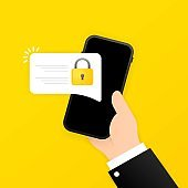 Lock smartphone icon. Secure code. Element of cyber security icon for mobile concept and web apps. Lock in a smart phone can be used for web and mobile. Vector on isolated white background. EPS 10