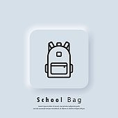 Backpack, bag line icon. School bag icon. Back to school. Vector. UI icon. Neumorphic UI UX white user interface web button. Neumorphism