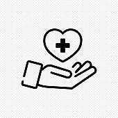 Hand with heart icon in black. Charity concept. Vector on isolated transparent background. EPS 10