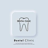 Dental clinic line logo. Dentist icon. Dentistry logo. Stomatology. Teeth care concept. Vector. UI icon. Neumorphic UI UX white user interface web button. Neumorphism