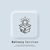 Delivery service icon. Fast delivery truck icons with box. Express delivery logo. Vector. UI icon. Distribution service. Neumorphic UI UX white user interface web button. Neumorphism