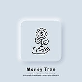 Money tree icon. Money growth. Invest money. Success business. Growing economy concept. Vector. UI icon. Neumorphic UI UX white user interface web button.