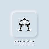 Glass cups cheers icons. Wine icon. Vector. Neumorphic UI UX white user interface web button. Neumorphism