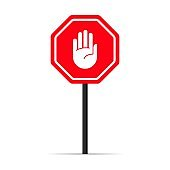 Traffic hand stop signal icon. Warning forbidden sign. Vector on isolated white background. EPS 10