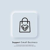 Support small business icon. Shop local products. Coronavirus Quarantine. Shop local symbol. Vector. UI icon. Neumorphic UI UX white user interface web button.