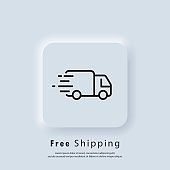 Free shipping icon. Free delivery. Badge with truck. Vector. UI icon. Neumorphic UI UX white user interface web button. Neumorphism