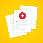 Medical form list with results data and approved check mark vector illustration. Clinical checklist document with checkbox, insurance or medicine service concept, prescription record. EPS 10