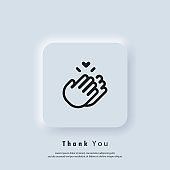 Sticker Thank you. Clapping Hands icon. Clap, applause icon. Vector. UI icon. Neumorphic UI UX white user interface web button.