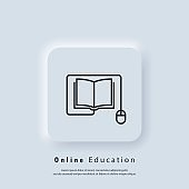 Online education or distance exam banner. Distant education, e-books icon. Course e-learning from home, online studying. Vector. UI icon. Neumorphic UI UX white user interface web button. Neumorphism