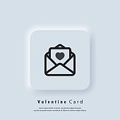 Greeting card icon. Gift card logo. Valentines Day greeting card. Love concept. Vector. UI icon. Neumorphic UI UX white user interface web button.