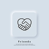 Handshake icon, Heart symbol. Hand Shake with Heart shaped. Volunteering icon. Charity or give love icon. Vector. UI icon. Neumorphic UI UX white user interface web button.