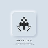 Wash hands icon. Wash hands with soap icon. Health care concept. Healthcare wash hands with rinse water, tap, soap safety. Vector. UI icon. Neumorphic UI UX white user interface web button.