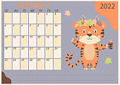 Planner calendar for September 2022. Cute tiger in a wreath of autumn leaves and a cup in his paw. Year of the Tiger in Chinese or oriental. Vector illustration. Horizontal template