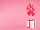Gift box with balloons 3d render illustration - present package with bunch of flying balloons on pink pastel background.