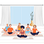 Meditate yoga class, calm exercise and relax