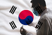 Medical researcher with protective facemask and gloves holding Coronavirus vaccine glass vial and fill syringe from medicine vial against Flag of South Korea background.