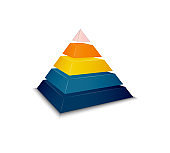 Pyramid assembled, disassembled and as parts vector illustration