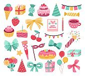 Cute birthday sticker. Party cake, greeting anniversary cupcake. Celebration garlands, doodle elements for cards planner exact vector set