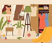 Chaos in room. Female zone, living or girl flat interior. Wardrobe, fashion posters on wall, sale shopping bag in apartment vector illustration