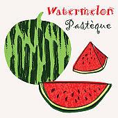 Watermelon vector illustration. Colorful textured modern design.