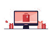 Computer with online gift shop
