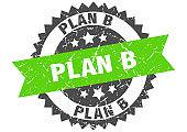 plan b grunge stamp with green band. plan b