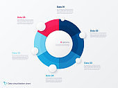 Vector round circle infographic chart template divided by six parts