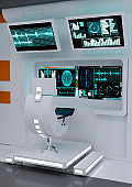 3D illustration futuristic command and control center