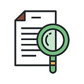 Paper document with magnifier icon. Business audit, records inspection sign.