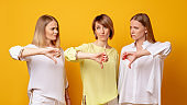 disappointed women dislike gesture wrong choice