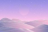 Japanese Mountain layout design in minimalist oriental style. Banner with polygonal landscape illustration. Chinese background with line pattern. Abstract template with geometric pattern