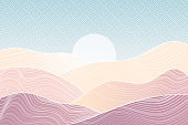 Japanese Mountain layout design in minimalist oriental style.Banner with polygonal landscape illustration. Chinese background with line pattern. Abstract template with geometric pattern