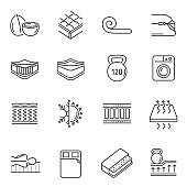 Mattress features thin line icons set isolated on white. Spine support, washable cover, pressure.