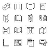 Booklet, blank, brochure thin line icons set isolated on white. Leaflet folded, layout, flyer.