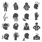 Disease symptoms, pain, ache bold black silhouette icons set isolated on white background.