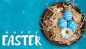 happy easter food ornament blue egg rustic plate