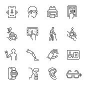 Technology for disabled set monochrome line icon vector illustration. Electronic gadget support