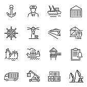 Monochrome simple sea port icon set vector illustration linear logo equipment for shipping industry