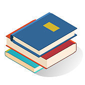 Stack books vector flat illustration. Pile textbooks, educational or entertainment paper literature