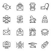 Collection of monochrome hacker trap icons vector illustration. Set of linear logo of digital crime