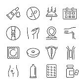 Icons contraception method vector illustration. Family planning, safe sex, pregnancy prevention