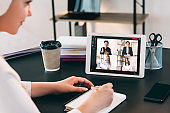 video conference online teamwork colleagues tablet