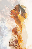 double exposure silhouette marble texture woman