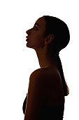 female profile silhouette hopeful pensive woman