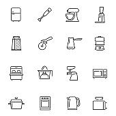 Kitchen appliances thin line icons set isolated on white. Refrigerator, mixer, blender pictograms.
