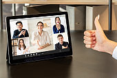 video conference distance recruitment team tablet